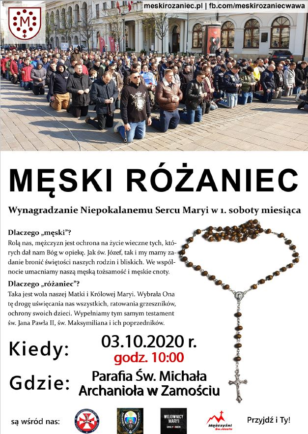 Męski Różaniec w Zamościu 3 października 2020 r.